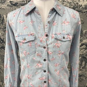Style & Co chambray floral button up shirt